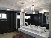 Double sinks in modern bathroom