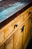 Worn Vintage Countertop and Cabinet
