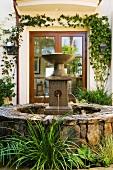 Rock Fountain in Spanish Style Courtyard