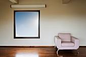 Modern Leather Armchair Under Window