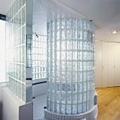 Glass brick cylinder in modern bathroom