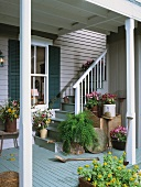 Foot of staircase with cheerful planters outside wooden house with roofed veranda
