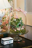 Bell jar covering hand-made bird box