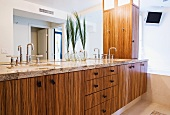 Bamboo cabinets in bathroom