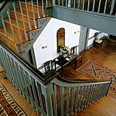 View from stairs into foyer of restored 18th century house