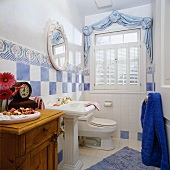 White bathroom with touches of blue