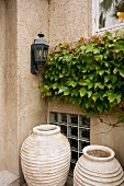 Detail of two large flower pots with ivy.
