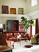 Eclectic living room with red furniture