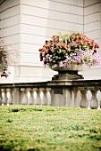 Large flower arrangement on terrace railing