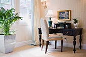 Contemporary desk and high back chair