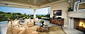 Contemporary living room with view of ocean panoramic