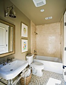 Small contemporary bathroom with mosaic tile floor