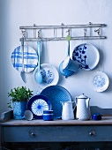 Blue and white crockery in a kitchen