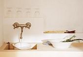 Stone sink in a Mediterranean kitchen