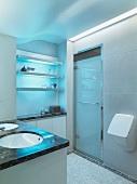 Modern bathroom with tile floor