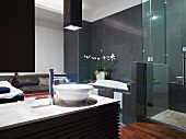 Large master bathroom with bowl sink