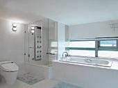 Large white modern bathroom