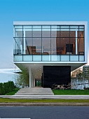Front elevation modern glass building