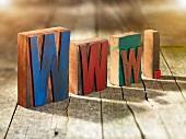 Wooden blocks spelling www.