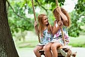 Smiling girls sitting in tree swing