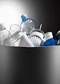 Plastic recycling in bin