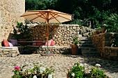 Umbrella and sitting area on stone patio