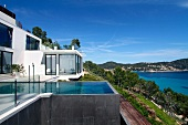 Modern home with infinity pool and ocean view