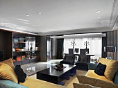 Wohnzimmer mit dunklem Interieur und goldbeigen Polstern auf Samtsofas