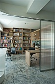 Modern home office with marble floor