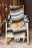 Cat on a Wooden Rocking Chair