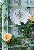 Alter Teller als Wanduhr an Holzwand mit blühenden Rosen