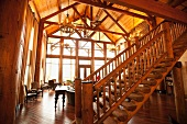 Interior of Large Wooden Lodge