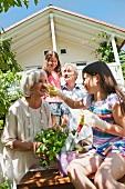 Grandparents and grandchildren in a garden
