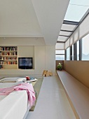 Modern living room with bookcase and television