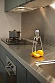1980s Philippe Starck lemon squeezer on a modern kitchen counter