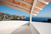 Architectural detail modern home with ocean view