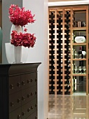 Hallway and wooden wine rack in modern home
