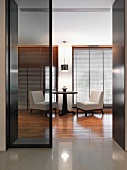 Sliding glass door in modern home