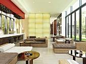 Wicker furniture in large modern sunroom lounge