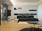 Modern bedroom with black bed