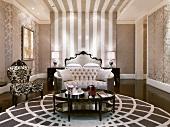 Elegant bedroom with sitting area