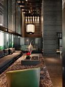 Dark living room with shag carpet