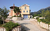 Exterior view of Villa Octavius on island of Lefkas, Greece