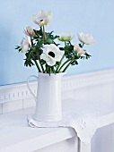 White windflowers in a jug