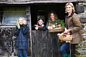 Family with fresh vegetables