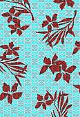 Tropical flowers on geometric background (print)