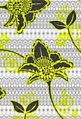 Tropical floral pattern on tribal background (print)