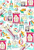 Colourful, Picasso-inspired pattern (print)
