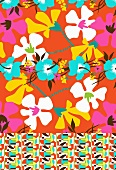 Pattern of multicoloured tropical flowers (print)