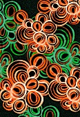 Abstract pattern of orange and green circles (print)